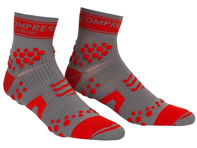 Compressport Racing V2 Trail Hoge Sokken, grey/red